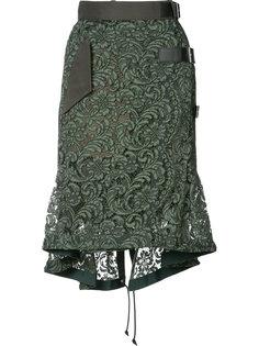 асимметричная кружевная юбка  Sacai