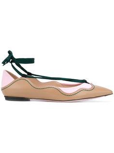 балетки с шнуровкой вокруг щиколотки Fendi