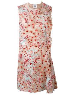 floral asymmetric frill dress Si-Jay