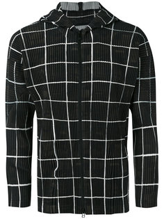 checked ribbed zipped hoodie Homme Plissé Issey Miyake