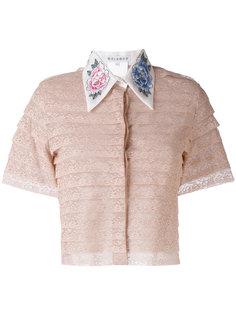 укороченная рубашка с вышитыми пионами  Melampo