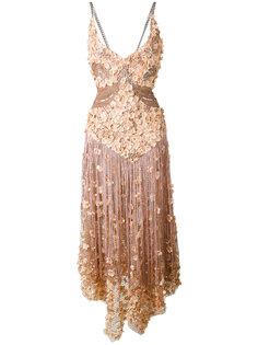 платье с цветочной аппликацией и бахромой Amen Amen.