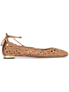 балетки со шнуровкой Aquazzura