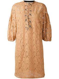 кружевное платье с рукавами три-четверти Nude