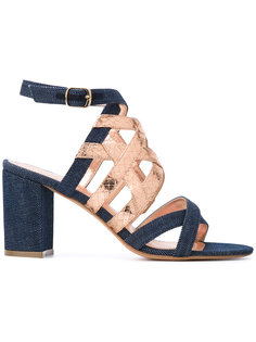 metallic strap denim sandals Jean-Michel Cazabat