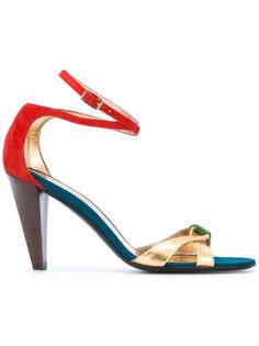 босоножки на наборном каблуке Michel Vivien