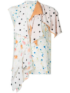 асимметричная блузка с мелким узором Lemaire