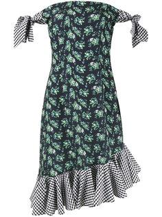 платье с открытыми плечами в цветочный принт и мелкую клетку House Of Holland