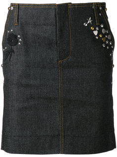 джинсовая юбка с фактурной отделкой Coach