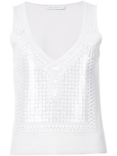 geometric embellished tank top Sally Lapointe
