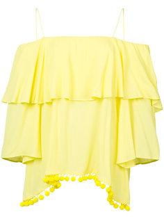 блуза с открытыми плечами и помпонами Alice+Olivia