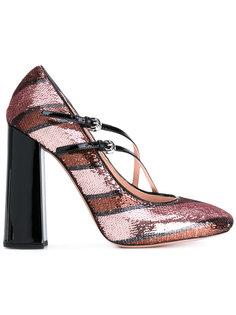 полосатые туфли с блестками Rochas