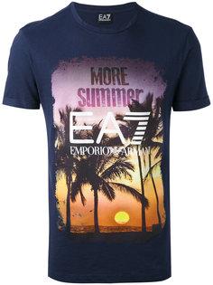 футболка с принтом заката Ea7 Emporio Armani