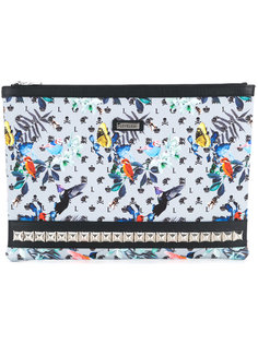 printed zip clutch Loveless