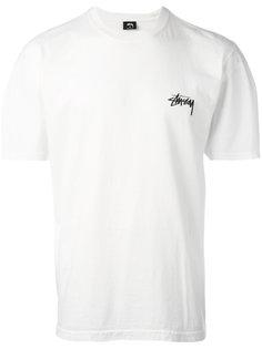 футболка с принтом-логотипом на спине Stussy