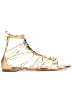 сандалии с разноцветной отделкой Casadei