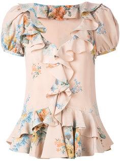 блузка с рюшами и цветочным принтом Alexander McQueen