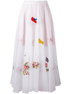 юбка с вышитыми цветами Vivetta