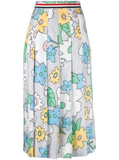 плиссированная юбка с цветочным принтом Thom Browne