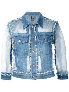 denim pearl-embellished jacket Aviù