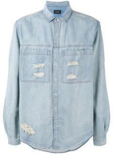 джинсовая рубашка с протертостями Stampd