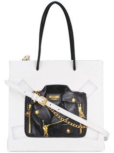 сумка на плечо с эффектом тромплей Moschino