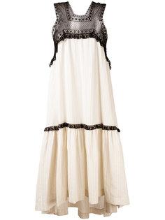свободное платье с кружевной вставкой Veronique Branquinho