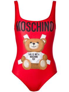 слитный купальник с принтом медведя Moschino