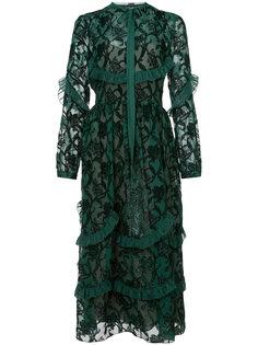 платье с вышивкой и оторочками Rochas