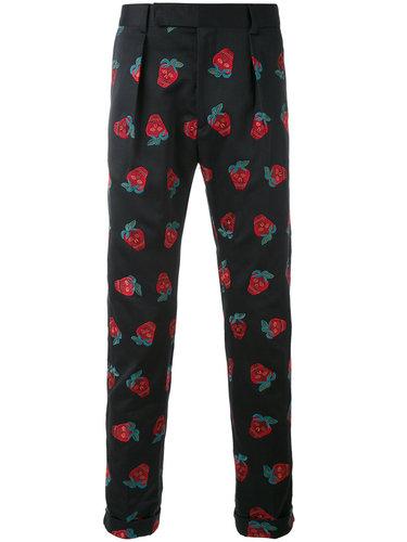 зауженные брюки с вышивкой клубники Paul Smith