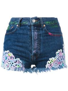 джинсовые шорты с вышивкой Forte Couture
