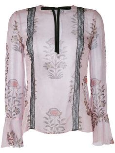 полупрозрачная блузка с цветочным принтом Giambattista Valli