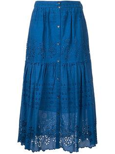embroidered pleated skirt Sea