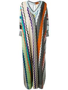длинное платье с зигзагообразным узором Missoni