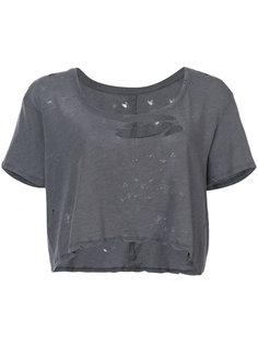 укороченная футболка с потертой отделкой Unravel Project