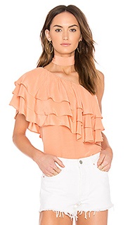 One shoulder ruffle overlay top with - Endless Rose