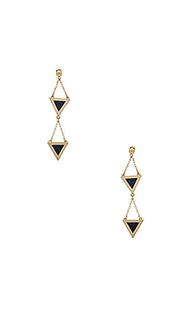 Double tri stone inlay dangle earrings - Michelle Campbell