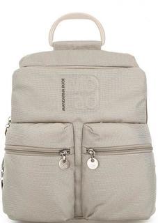 Бежевый текстильный рюкзак с одним отделом на молнии Mandarina Duck