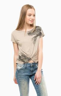 Трикотажная футболка бежевого цвета Mavi
