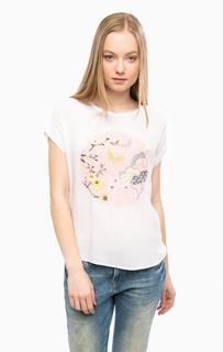 Белая футболка с вышивкой и принтом Mavi