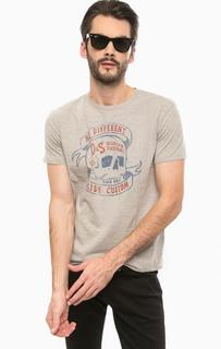 Серая хлопковая футболка с принтом D&S Ralph Lauren