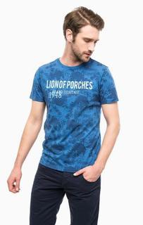 Синяя хлопковая футболка с цветочным принтом Lion OF Porches