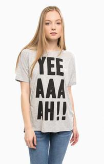 Серая футболка с контрастным принтом Mavi