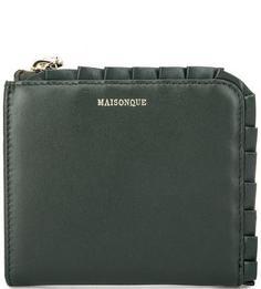 Зеленый кожаный кошелек на молнии Maisonque