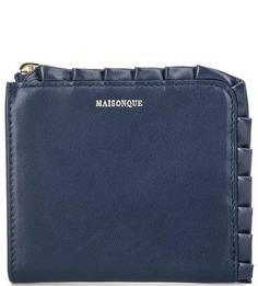 Синий кожаный кошелек на молнии Maisonque