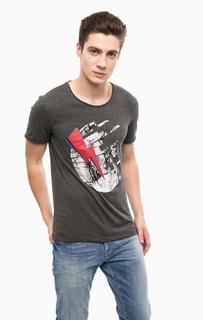 Серая хлопковая футболка с принтом Mavi