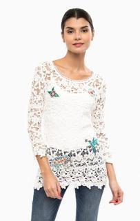 Хлопковая блуза с нашивками Desigual