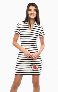 Трикотажное платье из хлопка с вязаным воротничком Desigual