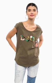 Хлопковая футболка с отделкой пайетками Desigual