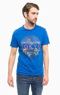 Синяя хлопковая футболка EA7